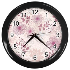 Leaves Pattern Wall Clocks (black)
