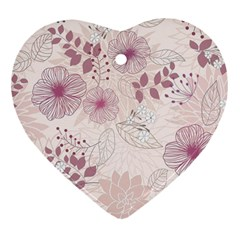 Leaves Pattern Heart Ornament (two Sides)