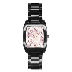 Leaves Pattern Stainless Steel Barrel Watch