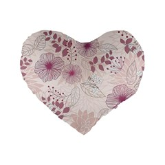 Leaves Pattern Standard 16  Premium Flano Heart Shape Cushions