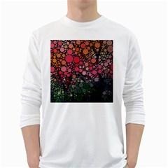 Circle Abstract White Long Sleeve T Shirts