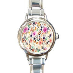 Vector Floral Art Round Italian Charm Watch