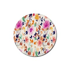 Vector Floral Art Rubber Round Coaster (4 Pack)