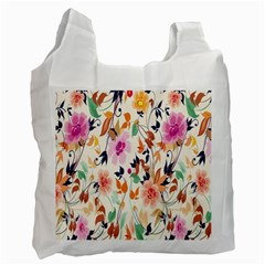 Vector Floral Art Recycle Bag (one Side)