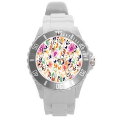 Vector Floral Art Round Plastic Sport Watch (l)