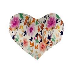 Vector Floral Art Standard 16  Premium Heart Shape Cushions