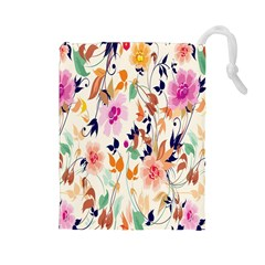 Vector Floral Art Drawstring Pouches (large)