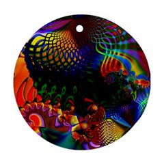 Colored Fractal Ornament (round)