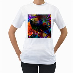 Colored Fractal Women s T Shirt (white) (two Sided)
