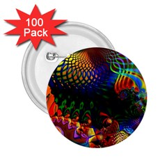 Colored Fractal 2 25  Buttons (100 Pack)
