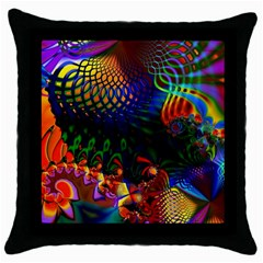 Colored Fractal Throw Pillow Case (black)
