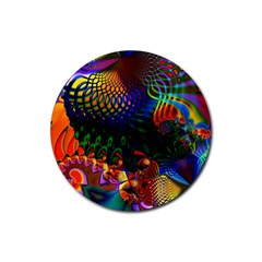 Colored Fractal Rubber Coaster (round)