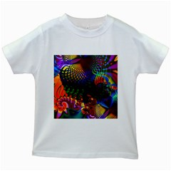 Colored Fractal Kids White T Shirts
