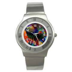 Colored Fractal Stainless Steel Watch