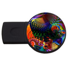 Colored Fractal Usb Flash Drive Round (4 Gb)