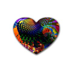 Colored Fractal Heart Coaster (4 Pack)