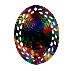 Colored Fractal Oval Filigree Ornament (two Sides)