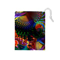 Colored Fractal Drawstring Pouches (medium)