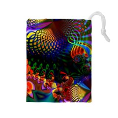 Colored Fractal Drawstring Pouches (large)