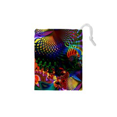 Colored Fractal Drawstring Pouches (xs)