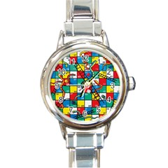 Snakes And Ladders Round Italian Charm Watch