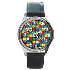Snakes And Ladders Round Metal Watch
