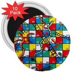 Snakes And Ladders 3  Magnets (10 Pack)