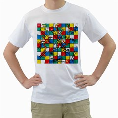 Snakes And Ladders Men s T Shirt (white) (two Sided)