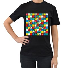 Snakes And Ladders Women s T Shirt (black) (two Sided)