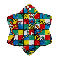 Snakes And Ladders Snowflake Ornament (two Sides)