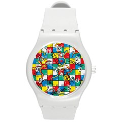 Snakes And Ladders Round Plastic Sport Watch (m)