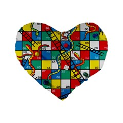 Snakes And Ladders Standard 16  Premium Flano Heart Shape Cushions