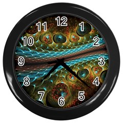 Fractal Snake Skin Wall Clocks (black)