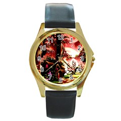 Fantasy Art Story Lodge Girl Rabbits Flowers Round Gold Metal Watch