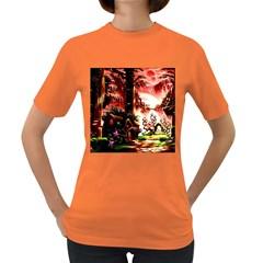 Fantasy Art Story Lodge Girl Rabbits Flowers Women s Dark T Shirt