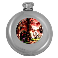 Fantasy Art Story Lodge Girl Rabbits Flowers Round Hip Flask (5 Oz)