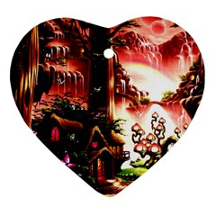 Fantasy Art Story Lodge Girl Rabbits Flowers Heart Ornament (two Sides)