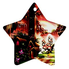 Fantasy Art Story Lodge Girl Rabbits Flowers Star Ornament (two Sides)