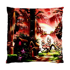 Fantasy Art Story Lodge Girl Rabbits Flowers Standard Cushion Case (two Sides)