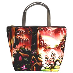 Fantasy Art Story Lodge Girl Rabbits Flowers Bucket Bags