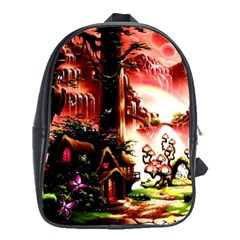 Fantasy Art Story Lodge Girl Rabbits Flowers School Bags(large)