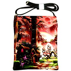 Fantasy Art Story Lodge Girl Rabbits Flowers Shoulder Sling Bags
