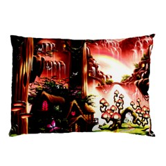 Fantasy Art Story Lodge Girl Rabbits Flowers Pillow Case (two Sides)