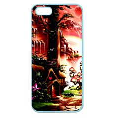 Fantasy Art Story Lodge Girl Rabbits Flowers Apple Seamless Iphone 5 Case (color)
