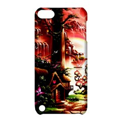 Fantasy Art Story Lodge Girl Rabbits Flowers Apple Ipod Touch 5 Hardshell Case With Stand