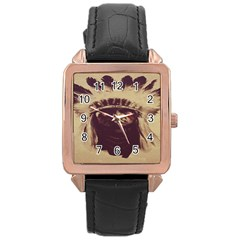 Indian Rose Gold Leather Watch