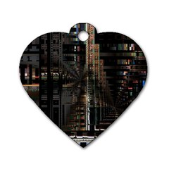 Blacktechnology Circuit Board Electronic Computer Dog Tag Heart (two Sides)