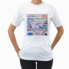 Book Collage Based On Confess Women s T Shirt (white) (two Sided)