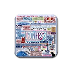 Book Collage Based On Confess Rubber Square Coaster (4 Pack)