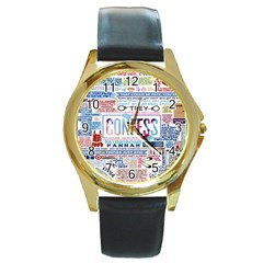 Book Collage Based On Confess Round Gold Metal Watch